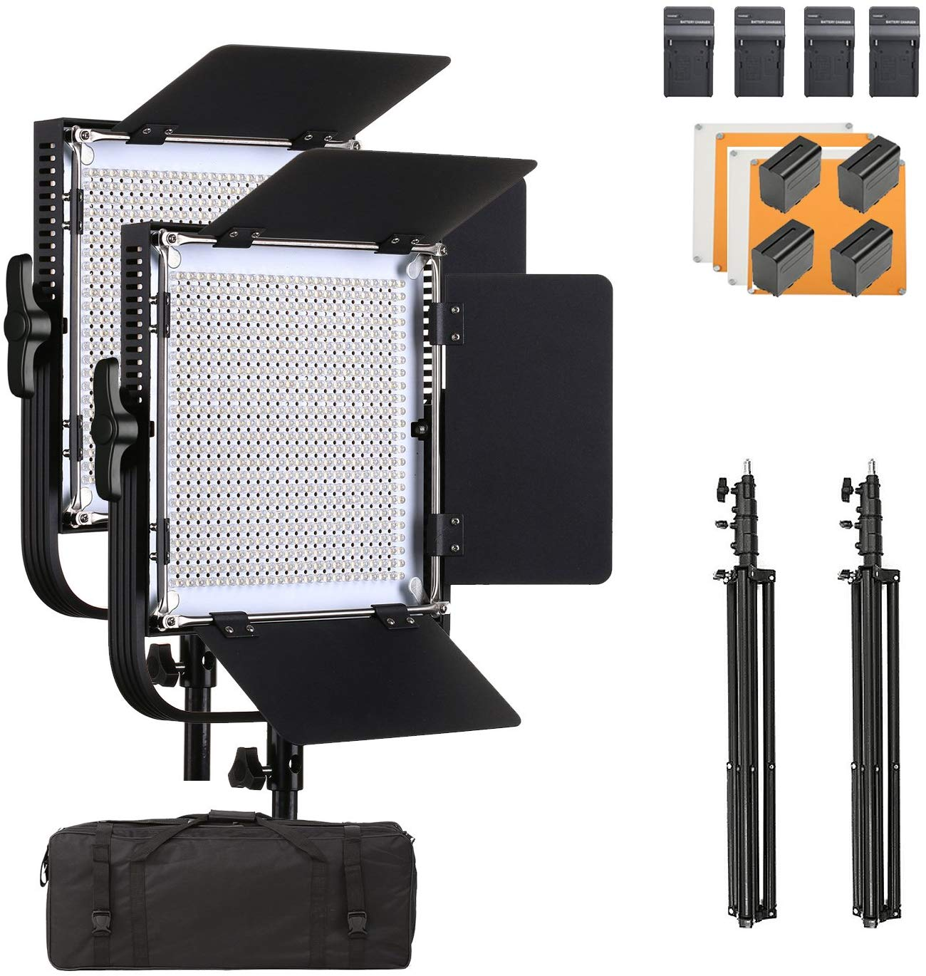 Led Light Pro Metal Dimmable Bi-Color 3200K-5600K Light for Video/Photography(2 Pack)